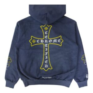 Chrome Hearts x Drake Certified Chrome Hand Dyed Blue Hoodie