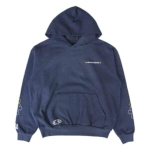 Chrome Hearts x Drake Certified Chrome Hand Dyed Blue Hoodie Front